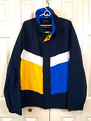 Vintage Nautica Colorblock Sailing Jacket Windbreaker Mens XXL White Yellow Blue