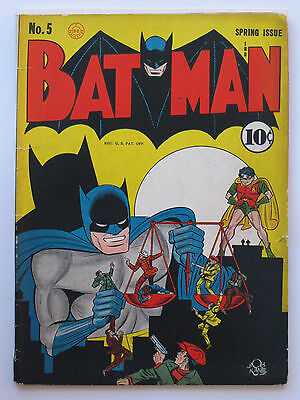 BATMAN # 5 US DC COMICS original 1941 Bob Kane - 1st BATMOBILE   VG+