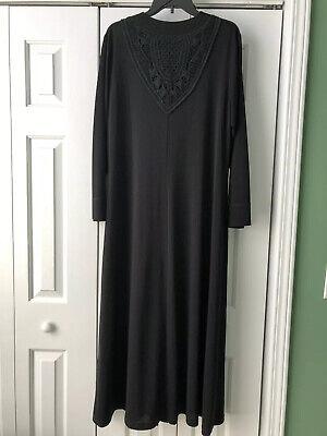 Black Lace Abaya Long Black Dress Women's Size XL