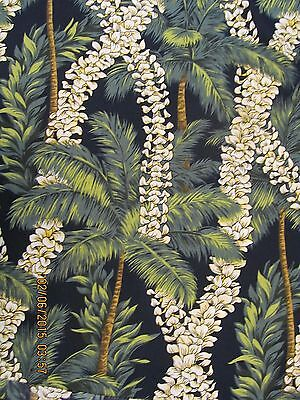 Fabric Leis ( Hawaiian Quilting Fabric Blueblack with Leis and Palm Trees)
