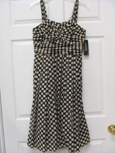 Lafayette 148 NY Sundress Size 4 Black & Beige Polka Dots Cotton & Silk