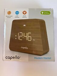 Capello Digital LED Modern Mantle Alarm Clock, Wood Grain Finish, New Free Ship