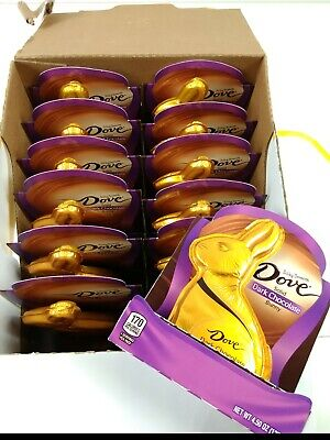 FULL CASE Dove Solid DARK Chocolate Bunny Easter Candy Qty 12 BB 03/2021