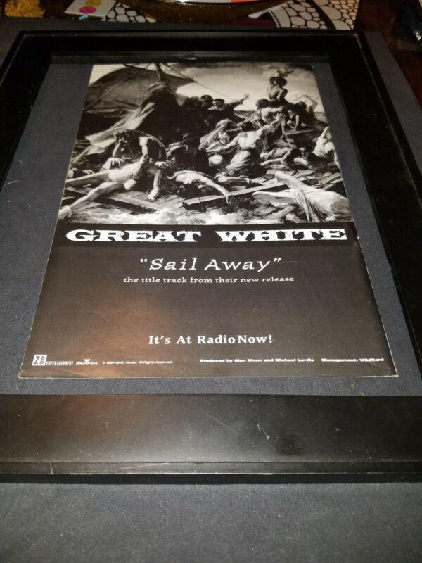 Great White Sail Away Rare Original Radio Promo Poster Ad Framed! #2