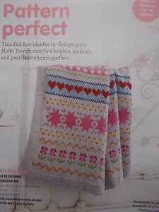 hearts and flowers family throw or baby blanket to make DK knitting pattern