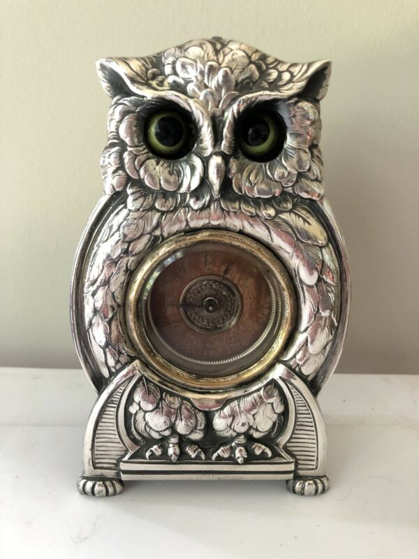 Antique Mechanical Clock Whimsical Owl Glass Moving Eyes Mantel Silver Relief