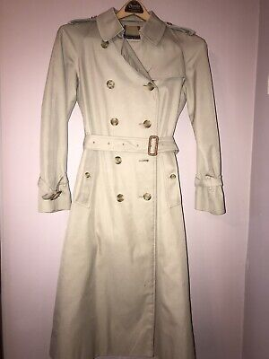 VINTAGE BURBERRY TAN BELTED TRENCH COAT NOVA CHECK made in England sz 6 regular