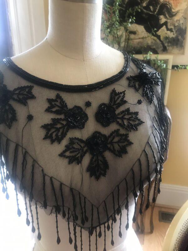 Antique 1920's Flapper Collar Silk Net Lace Fringe Beadwork Sequins Gatsby Deco