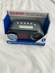 Sharp DIGITAL ALARM CLOCK with RAPID CHARGE 2 AMP USB PORT for Smartphone Phone