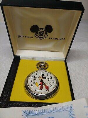 Vintage Walt Disney Productions Mickey Mouse Pocket Watch in Original Box