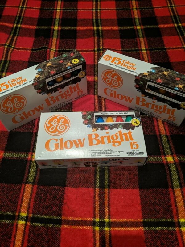 Three-Set Vintage GE Glow Bright 15 Light Set Outdoor Soft Glow Colors In Box