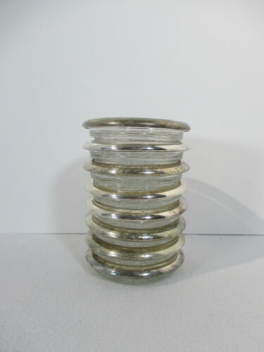 Coasters Glass Silverplate Rims Starburst Center Vintage Set of 8 Holiday
