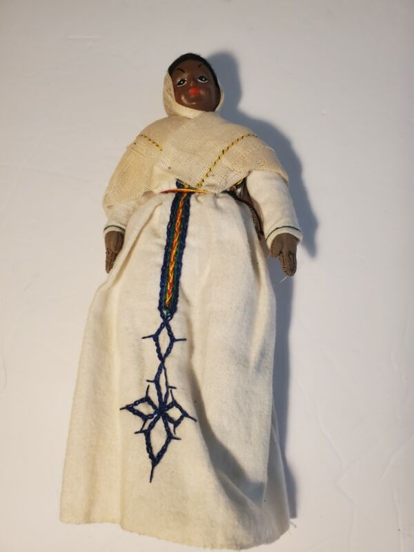 Collectable Vintage African Doll White Dress