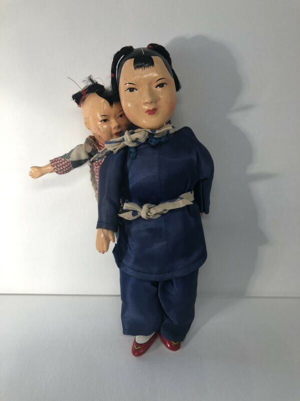 Vintage PORCELAIN AND CLOTH  Asian Oriental Chinese Woman Doll with Baby on Back