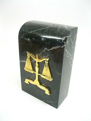 Bey-Berk International Green Marble & Brass Attorney Lawyer Door Stop Bookend