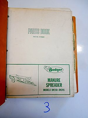 Badger Manure Spreader Forage Boxes Running Gear Parts Operators Manual Binder