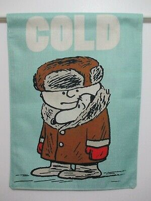 PEANUTS SNOOPY CHARLIE BROWN - COLD SHARING THE WARMTH - SMALL 13x18 FLAG - NEW