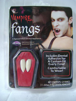 Adhesive For Vampire Fangs (NEW REUSABLE VAMPIRE FANGS WITH DENTAL ADHESIVE PACK FOR HALLOWEEN FANCY)