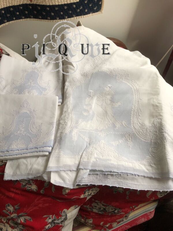 Magnificent Antique Linen Appenzell Sheet And Pillowcases