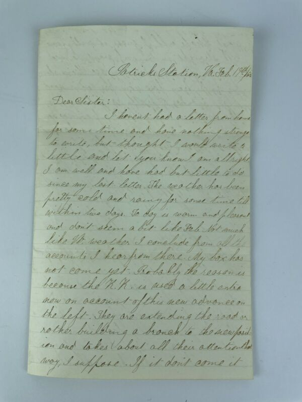 Post Civil War Letter February 19th 1865 Tells of Complaint From General Grant?