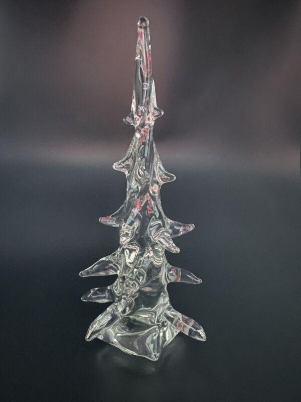 "Large Clear Blown Art Glass Evergreen Pine Christmas Tree Artist Made 9"""