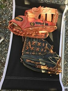 Left and right hand baseball gloves