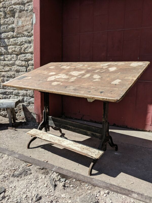 Dietzgen/Hamilton Cast Iron Drafting Table Foot Rest Industrial Loft Study