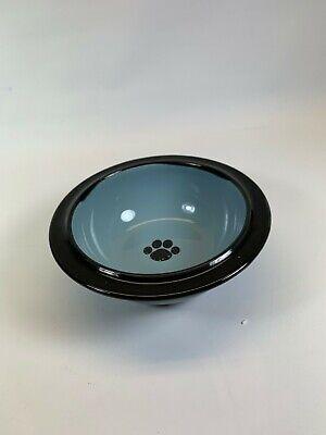 Kool Pet Club hand crafted Stoneware Small Cat dog Pet Dish paw print -