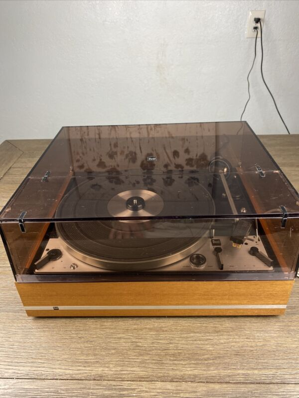 Dual Model 1229 Vintage 3 Speed Turntable W/ Dust Cover See Test Video Read Desc