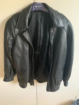 90s Vintage Oversized Black Leather Jacket