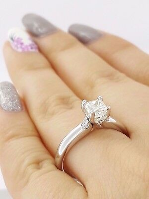 1.04 ct Cordova 14K White Gold Radiant Cut Diamond Solitaire Engagement Ring GIA 4