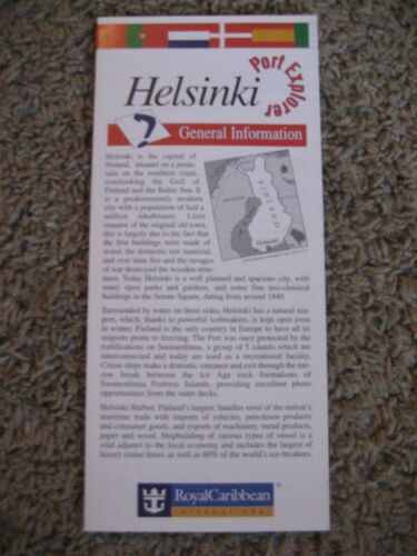 Helsinki Finland, Royal Caribbean, Port Explorer, Map / Brochure, 1998