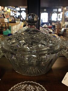 Glass bowl with crystal lid