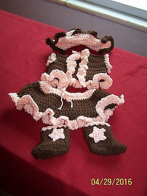 Cowgirl Outfit Child (Crocheted  Cowgirl Outfit Photo prop Peach and)