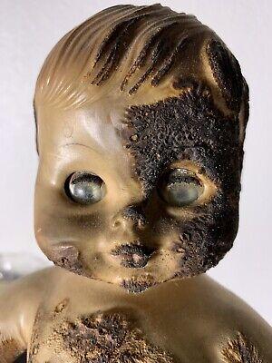 """creepy burned doll - vintage """"haunted"""" doll"""