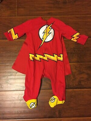 Cheap Red Capes (The Flash DC Comics Infant Zipper Sleeper Costume Outfit With Cape)