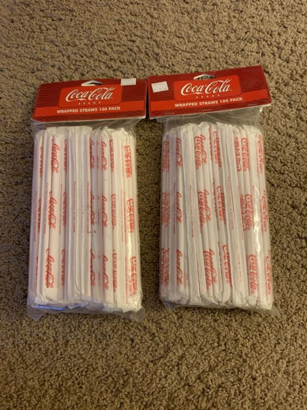 Vintage Coca Cola Drinking Straws Wrapped In Paper Lot of 200 Coca Cola