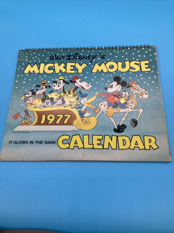 Mickey Mouse 1977 Calendar Glows In The Dark Used