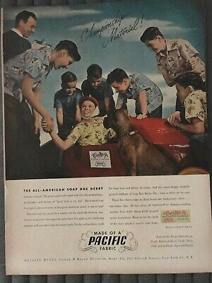 Pacific Fabric~The All American Soap Box Derby~1948 Vintage Print AD A93