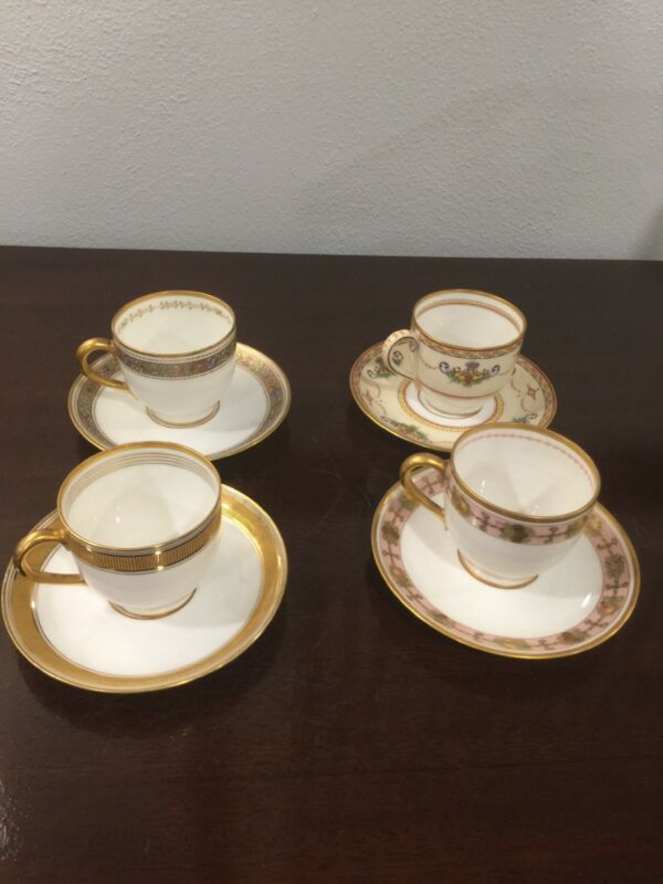 4 Rare Antique Ginori Italia CUPS & SAUCERS - Marshall Fields