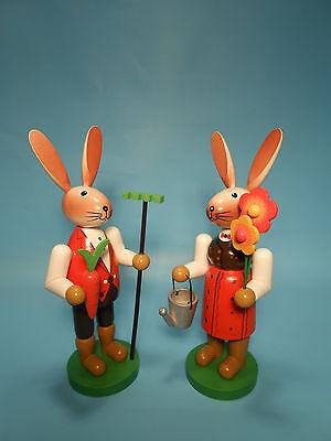 Osterhasen Paar 16 cm groß Holz Deko Hasen farbig bemalt Osterhase Deko neu