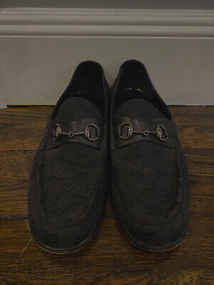 Gucci Loafers Vintage Mens Black Horsebit Classic Canvas Leather Logo GG Silver