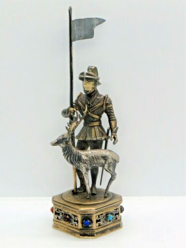 Knight with Stag-Deer Sterling German Statue Hand Carved Face Jeweled Antique
