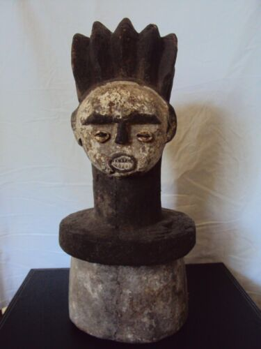 SUPERB AMBETE ROYAL QUEEN RELIQUARY Plinth EXTREMELY RARE African Carving LG!!