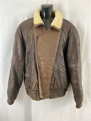 VINTAGE Leather Jacket Erresse Made In Italy Brown Fur Collar Pilot Bomber Biker