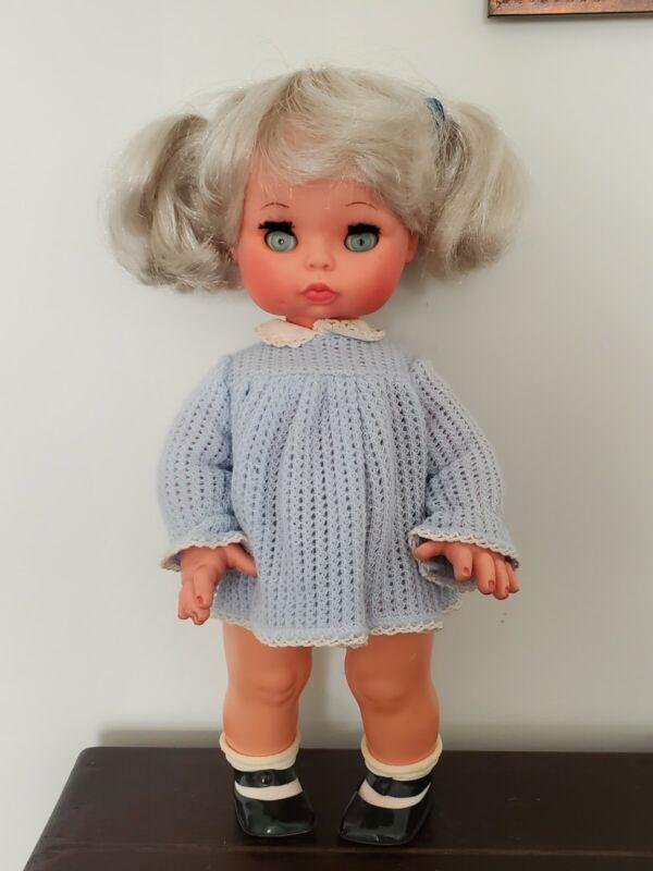 "14"" Vintage Furga Toddler Silver Blonde Italian Doll Original 1960's"