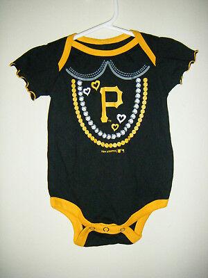MLB Pittsburgh Pirates Bucs Baseball Infant Baby Body Snap Suit 0/3 Months Black Baseball Infant Bodysuit