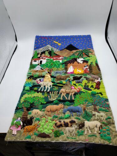 Peruvian Arpillera Textile Folk Art Embroidered Applique 3D Wall Hanging Pockets