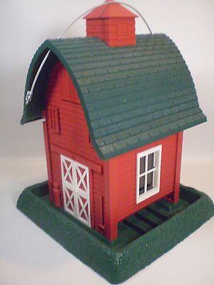 Wild Bird Feeder Red Green Barn Nature Made In USA Americana Decor