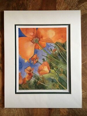 Fine Art Water Color Print Poppy Garden Matted 11x14 Giclee By Artist ❤️